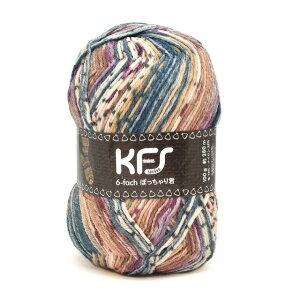 毛糸Opal-オパール-オリジナルカラー6本撚りぽっちゃり君KFS173.キャラメル/ブルー×ベージュ系マルチカラー(B)_5bj