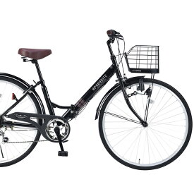 セール☆26インチ折畳自転車 M-507-BK(ブラック)6段ギア・肉厚チューブマイパラス【送料無料】おりたたみ自転車 バスケット/ライト/カギ パンクしにくい