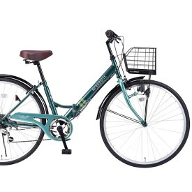 セール☆26インチ折畳自転車 M-507-GR(グリーン)6段ギア・肉厚チューブマイパラス【送料無料】おりたたみ自転車 バスケット/ライト/カギ パンクしにくい