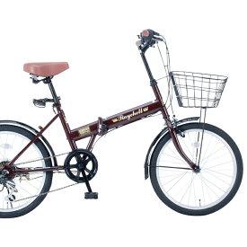 20インチ折りたたみ自転車FB-206R 35650 ブラウン【送料無料】レイチェルシマノ製変速6段ギア オオトモ