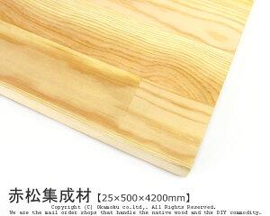 赤松集成材 【25×500×4200mm】 ( DIY 木材 レッドパイン )