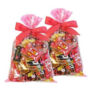 (地域限定送料無料) 【2コセット】食べきりチョコっとサイズ個包装タイプ チョコレート・駄菓子セット(計28コ) 花柄ラッピングA おかしのマーチ (omtma6304k)