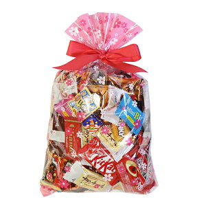 (地域限定送料無料) 食べきりチョコっとサイズ個包装タイプ チョコレート・駄菓子セット(計69コ) 花柄ラッピングB おかしのマーチ (omtma6307k)