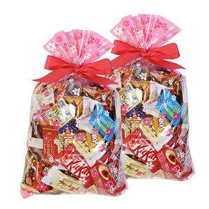 (地域限定送料無料) 【2コセット】食べきりチョコっとサイズ個包装タイプ チョコレート・駄菓子セット(計69コ) 花柄ラッピングB おかしのマーチ (omtma6308k)
