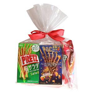 (地域限定送料無料) グリコ スティック菓子 ポッキー&プリッツ(5種・計5コ)食べ比べセット ラッピングver プチギフト (omtma7070kz)