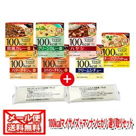 (全国送料無料) 大塚食品 100kcalマイサイズ カレーシリーズ選べる1種2コ & マンナンヒカリ スティックタイプ 75g(2袋)セット メール便