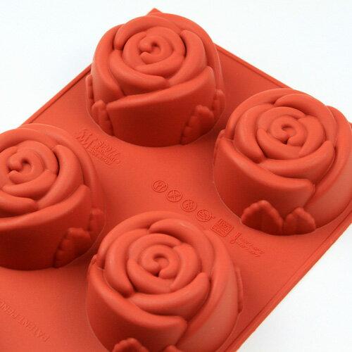 シリコンフレックス ローズ/バラ型6ヶ付 SF-077  シリコン型 ケーキ型 花