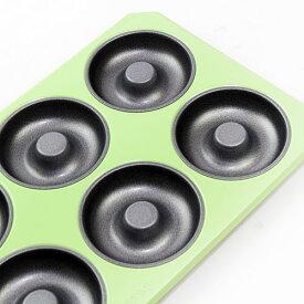 【在庫限り】フッ素加工 グリーンカラー ドーナツ型 天板 #3812 ケーキ型 お菓子