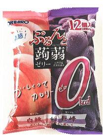 オリヒロ ぷるんと蒟蒻ゼリーカロリーゼロ 白桃+巨峰 (18gパウチ×12個)×12袋入