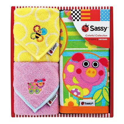 Sassy(サッシー)タオルセット(ピンク)【出産内祝 内祝いなどのお祝い返しに】【出産祝い お返し 返礼】【御出産御祝・出産祝い】【送料込み 送料無料(※沖縄、離島は除く)】