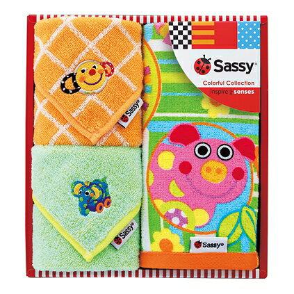 Sassy(サッシー)タオルセット(ブルー)【出産内祝 内祝いなどのお祝い返しに】【出産祝い お返し 返礼】【御出産御祝・出産祝い】【送料込み 送料無料(※沖縄、離島は除く)】