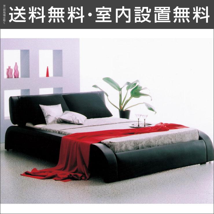 【送料無料/設置無料】 輸入品 丸みのあるデザインが特徴的な高級感のあるベッド ディザイア(ダブルベッド)ブラックダブル クッション付 高級感 板マット すのこ スノコ シンプル