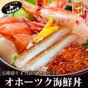 北海道 送料無料『オホーツク海鮮丼セット:B(4人前)』いくら!特大ほたて!特大ぼたんえび!本ずわい蟹むき身脚!…
