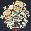 【メンズ・レディース共用バックプリント】オリオンビール Tシャツ 「 シーサー とドラフト缶」(紺)綿100% S M L LL XL XXL サイズ グッズ 半袖 半そで