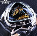 T-WINNER メンズ腕時計 機械式 高級ブランド 自動巻 トライアングルダイヤルデザイン スケルトン シルバー 複数カラー有