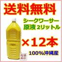 シークワーサー ストレート果汁2Lペット 12本セット 100% 沖縄産 オキハム 原液 2L 送料無料 /ノビレチン ビタミンC …