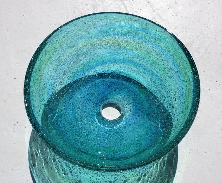 [即納]琉球ガラスの手洗いボウル/洗面ボウル[洗面鉢][洗面ボール][3日以内発送可] NO-2[潮騒 水緑][送料1620円]大きなサイズ/径35CM