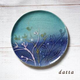 やちむん 皿/7寸皿/沖縄の陶器 やちむんの皿〈新生活〉〈結婚祝い〉〈引出物〉プレート[一点物][サンゴ] 中皿 ヤチムン・珊瑚プレート(NO-28)/藍色/ターコイズ