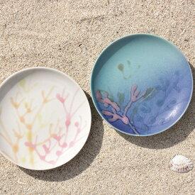 沖縄 出産祝い沖縄 出産祝 縁起の珊瑚のやちむん 皿 おしゃれ食器皿/食洗機と電子レンジもOKです。〈新生活〉珊瑚プレート/沖縄小皿 4寸皿セット)白色 オーシャンブルー色