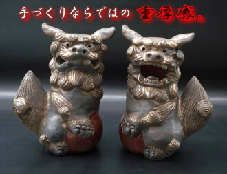 I smoke it, and black and a certain sense of quality golden fusion ■ dancer on a ball Shisa (very much) of the taste of the ceramics are made in gold, gold, feng shui goods, mascot, Japan