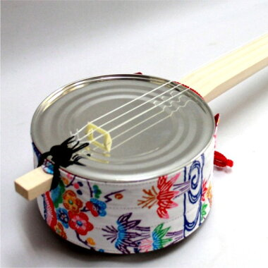 カンカラ三線用ティーガー(胴巻き)琉球紅型柄:白