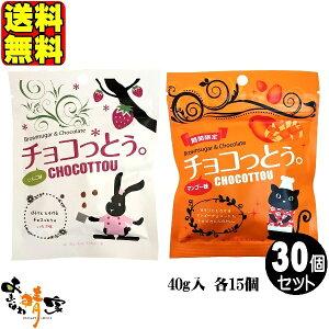 チョコっとう いちご味 15個と マンゴー味 15個 (琉球黒糖 沖縄 土産 黒糖 チョコレート 苺味 マンゴ味) 送料無料