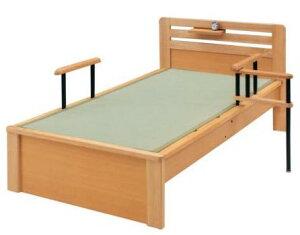 畳ベッド ベッド 木製 たたみベッド シングルベッド シングル畳ベッド たたみベッド ナチュラル 手すり1本・ベッドシェルフ付き (介助バー付き手すりは別売りです。)