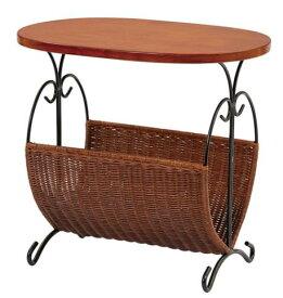 ラタン マガジンラック サイドテーブル テーブル付き 木製 おしゃれ スリム マガジンスタンド アイアン 雑誌 新聞 収納家具 北欧 アジアン  完成品