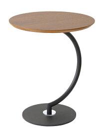 サイドテーブル 丸テーブル リビングテーブル アイアン テーブル アイアン かわいい ウオールナット突き板 幅46cm