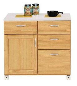 80キッチンカウンター 【イエローパンプキン】 天板はタイルで掃除もラク♪ キャスター付だから移動も簡単♪ キッチンワゴン  キッチンカウンター ナチュラル キッチンキャビネット 台所収納 間仕切り 木製