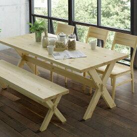 ダイニングテーブル ダイニング5点セット ダイニングセット ヒノキ 180テーブル 150ベンチ ダイニングテーブル ダイニングチェア 木製 ナチュラル(開梱設置無料)