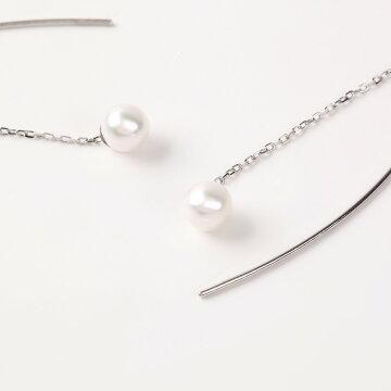 日本製あこや真珠カーブラインピアスOKKO真珠オッコ真珠パールピアスあこや真珠ピアスアクセサリーギフト誕生日母の日クリスマスパーティー