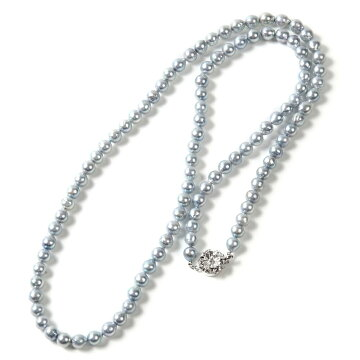 OKKOオッコOKKOあこや真珠80cmバロックロングネックレスグレー