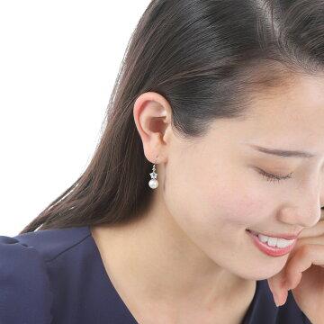 揺れるピアス真珠7mmあこや真珠星かわいいおしゃれ定番普通フォーマル式典アコヤ真珠スカイブルートパーズホワイトトパーズ【K14ホワイトゴールド星のパールピアススカイブルートパーズ】伊勢メーカー直販日本製