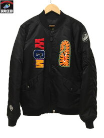 A BATHING APE アベイシングエイプ 17AW SHARK MA-1 JR BLACK M【中古】
