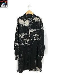 Yohji Yamamoto BLACK Scandal/18AW/離れ衿総柄ロング丈長袖シャツ/3【中古】