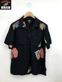STUSSY オープンカラーシャツ(S)黒【中古】