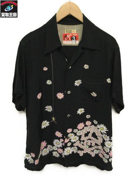 KEONI OF HAWAII/アロハシャツ/花×蜘蛛【中古】