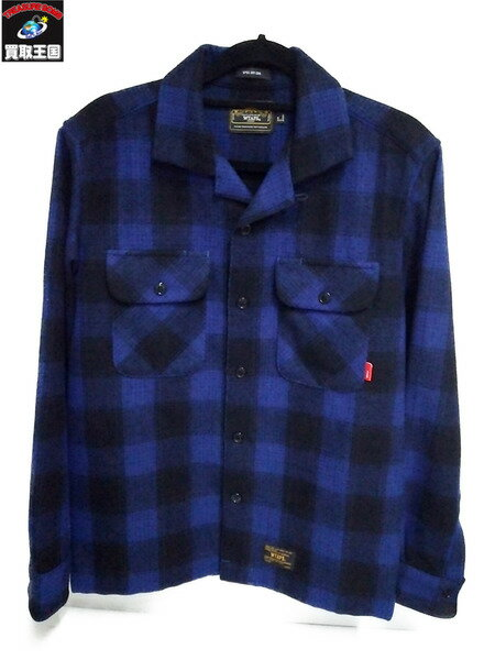 WTAPS/ダブルタップス/VATOS L/S/112SPDT-SHM02 ウールチェックシャツ/S/BLUE【中古】