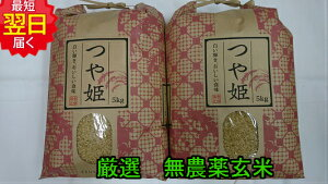 【令和元年産】山形県産 無農薬 つや姫 ★玄米10kg送料無料※北海道、沖縄は発送見合わせております。