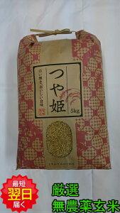 【令和元年産】山形県産 無農薬 つや姫 ★玄米5kg送料無料※北海道、沖縄は発送見合わせております。