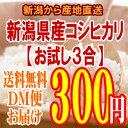 【お試し】【全国一律送料無料】新潟産コシヒカリ3合(450g)〔28年産〕新潟から産地直送でお届けいたします♪【精白…