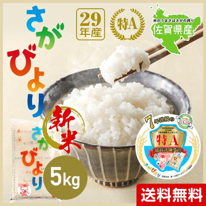 【 送料無料 】29年産 佐賀県産 さがびより 5kg 米【 特A 】