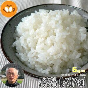 米 食べ比べ 白米 10kg (5kg×2) 滋賀県近江八幡産 キヌヒカリ コシヒカリ 令和元年産 内野営農組合 環境こだわり米(減農薬) 送料無料