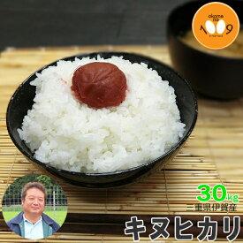新米 三重県伊賀産 キヌヒカリ 玄米 30kg ヒラキファーム 令和元年産 送料無料