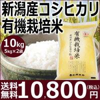 【送料無料】24年産米新潟産コシヒカリ有機栽培米10kg(5kg×2袋)【25%OFF】特別価格、さらにポイント2倍!