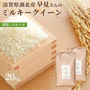 令和3年 滋賀県湖北産早見さんのミルキークイーン 20kg【環境こだわり米(特別栽培米)】【白米・玄米】