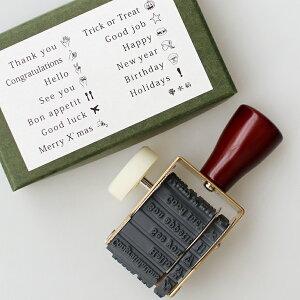 水縞[ミズシマ]回転印 気持ち 168 English[文房具 スタンプ ワード アイコン メッセージ カード 手紙 ラッピング 英語 真鍮]