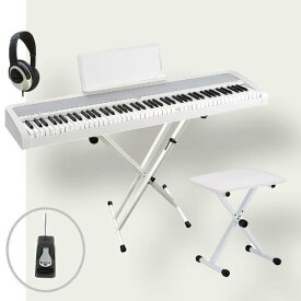 KORG 電子ピアノ B1 WH コルグ X型スタンド W支柱 フットペダル 椅子 ヘッドホン付