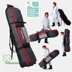 スノーボードケース キャスター 付き オールインワン 大容量収納 4WAY 前面3ポケット ボードケース スノーボード ウェア ボード ブーツ ゴーグル など収納可
